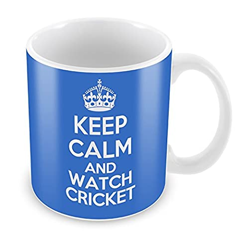 BLUE KEEP CALM and Watch Cricket Mug Coffee Cup Gift