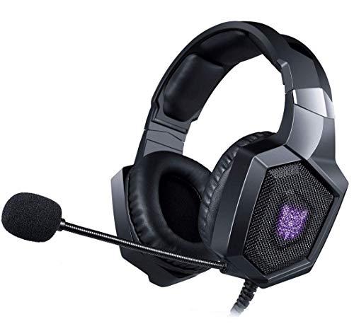DZCP Gaming Headset PS4, kabelgebundenes Stereo-Gaming-Headset mit kristallklarem Sound, LED-Licht und Noise Cancelling-Mikrofon für Playstation 4 Xbox Ones Nintendo Switch PC-Notebook-Tablet-Telefon (In-ear-telefone, Noise Cancelling)