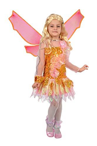 Ciao Stella Tynix Kostüm für Mädchen, 7-9 Jahre, Orange, Rosa, - Winx Club Kostüm