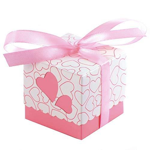JZK 50x Rosa Herz Gastgeschenk Box Süßigkeiten Schachtel Geschenk Kasten für Hochzeit Geburtstag Babyparty Taufe Kinder Party Weihnachten