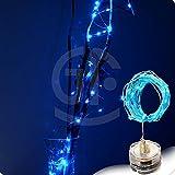 Prevently LED Lichterkette, Wasserdicht Kerze Lichterkette Tauch Wasserdichte Lichterkette Kupferdraht String Lights Base Lamp für Zimmer Garten Weihnachten 3m 30 LED (Blau)