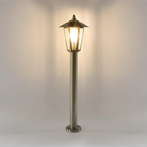 Außenleuchte Aussenstandleuchte Standleuchte Außenlampe Edelstahl Gartenlampe Wegeleuchte Stehlampe Gartenleuchte 601-800 (LED 7W warmweiß)