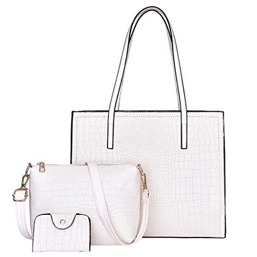 FOANA Damen Handtaschen Schultertasche Geldbörse Kartenhalter Tasche Set 3pc (Beige)
