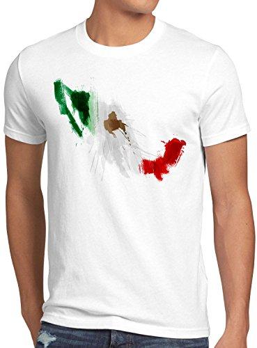 CottonCloud Flagge Mexiko Herren T-Shirt Fußball Sport Mexico WM EM Fahne, Größe:M, Farbe:Weiß