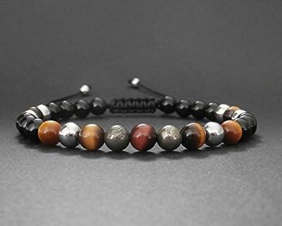 Bracelet homme pierres oeil de tigre rouge et jaune, pyrite, hématite, onyx