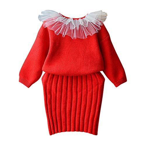 Livoral Kinder Winter AnzugKleinkind Baby Kind Mädchen solide warme Pullover Stricken häkeln Top Strap Kleid Set(Rot,100)