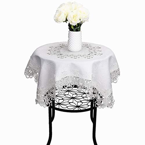 TaiXiuHome Europäischer Stil Minimalist Blumen Stickerei Spitze Tischdecken Hohl Top Dekoration quadratisch Weiß ca. 85x85cm