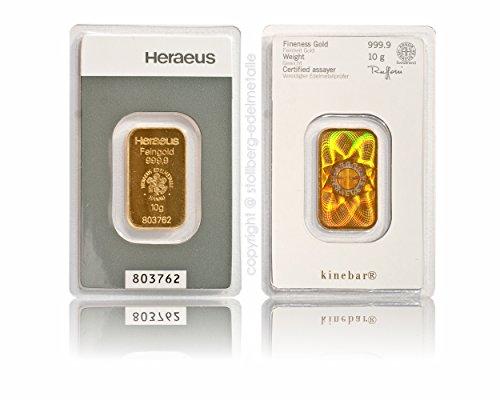 Heraeus Kinebar 10g Gramm Goldbarren 999.9