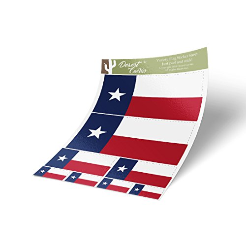 Texas TX State Flag Aufkleber, verschiedene Größen, 8 Stück insgesamt, Kinder-Logo, Scrapbook, Auto, Fenster, Stoßstange, Laptop, Texan V -