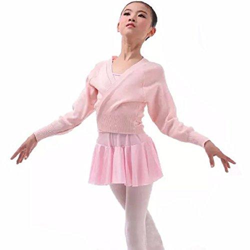 Tiaobug Kinder Ballett Wickeljacke Bolero Schulterjacke schwarz rosa rot Strickjacke Jacke 98 104 110 116 128 140 152 Rosa 110-116(Herstellergröße: 140)