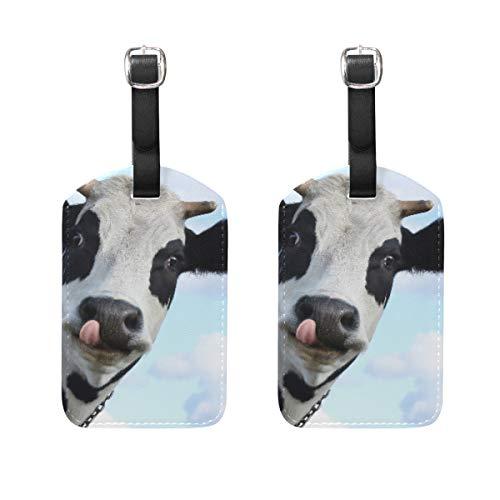 Hunde 2-stück Gepäck-set (Kofferanhänger für Gepäck Koffer 2 STÜCKE Cute Cow Leather Travel Bag Adressetiketten)