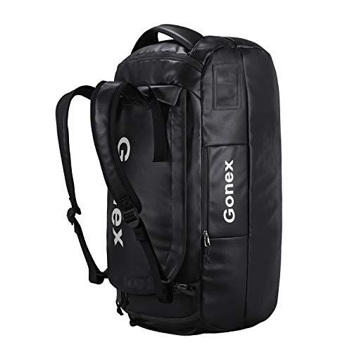 Gonex Rucksack Reisetasche Reiserucksack Wanderrucksack Düffel 60L für Damen Herren zum Wandern, Camping, Reisen, Radfahren, Schwarz