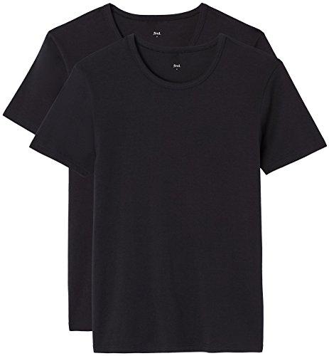 FIND T-Shirt Herren mit Rundem Ausschnitt, 2er-Pack Schwarz (Black X2)