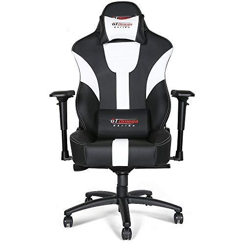 GT Omega Master XL - Silla de oficina de piel, diseño deportivo, color blanco y negro