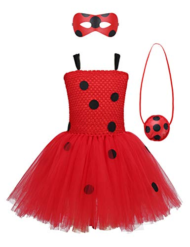 Agoky Mädchen Marien Käfer Kostüm Prinzessin Polka Dots Tutu Kleider mit Augenmaske und Tasche Party Festzug Halloween Kostüme Rot 110-116/5-6Jahre (Halloween Party Kostüme)