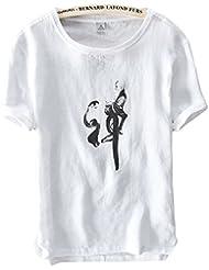 Insun Hommes T-Shirt de Lin Imprimé Tees Crew Neck Printemps Eté Tops