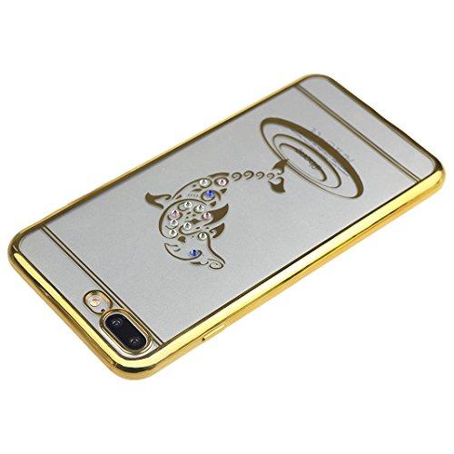 Doux Coque iPhone 7 Plus Transparent, Etui iPhone 7 Plus TPU, Housse iPhone 7 Plus Silicone Case, Moon mood® Soft Gel TPU Bumpour Case Cover pour Apple iPhone 7 Plus Protection Housse Coquette Gel Coq 1-Or 2