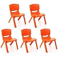 TOYO 5x Children Strong Stackable Kids Plastic Chairs Picnic Party Garden Nursery Club Indoor Outdoor (Orange)