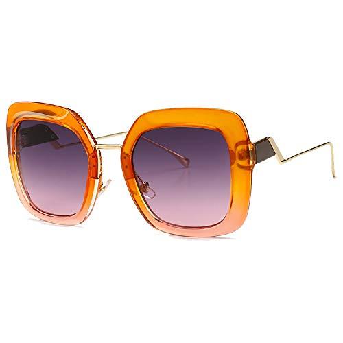 Chinashow Sonnenbrillen für Damen Herren - Vintage-Mode Leichtmetallrahmen Cat Eye Ray Ban Sonnenbrille UV 400 (Orange Grau)