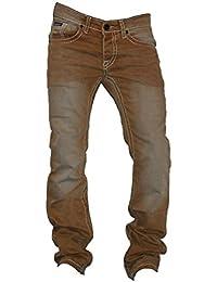 Herren Jeans Hose Jeans-Hose mit Dicke -Braune Orange-Naht S-9 Beige Tisey®