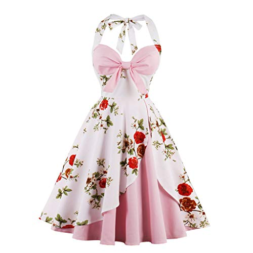 Rockabilly Kleider Neckholder 50s Vintage Kleid A-Linie Retro Knielang Kleider Damenkleider Festlich Cocktailkleider Party Kleid Rollenspiel ()