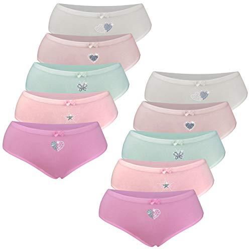 PiriModa 10 Pack Kinder Mädchen Baumwolle Slips (170/176, Modell 1-10 STÜCK) (Mädchen Unterhosen)