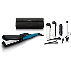 Philips HP8698/00 - Plancha multiestilo con placas cerámicas y 6 accesorios para modelar el cabello con estilo
