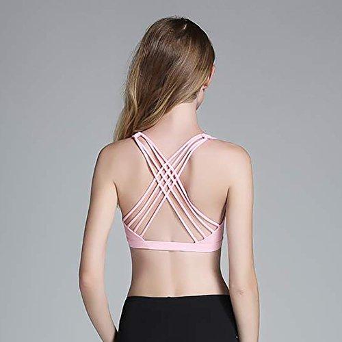 iBaste Soutien-Gorge de Sport sans Couture Brassière à Faible Impact avec Bonnets Amovibles en Mousse Femme Rose