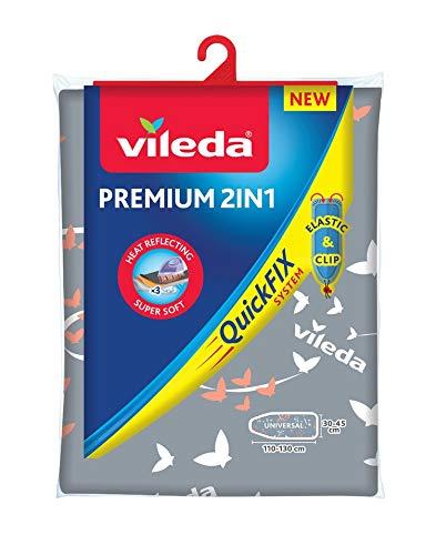 Vileda Premium 2 en 1 - Funda de planchar, tres capas, tamaño universal, suave, color gris y blanco...