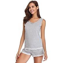 Hawiton Pijama Mujer Verano Corto de Algodón Camiseta Sin Mangas Ropa de Dormir  para Mujer 2 6ced40c8d0aa1