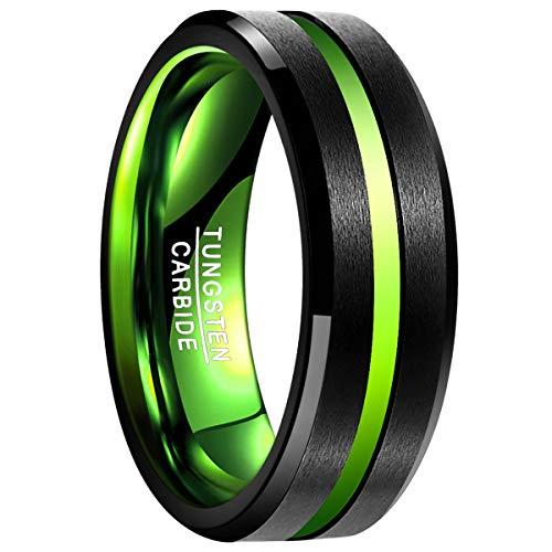 Natur Fashion - Wolframcarbid Ring für Herren Damen Unisex 8MM Schwarz Grün mit Groove Matt Verlobungsring Partnerring Hochzeitsring Fashion Style Größe 52 (16.6) -