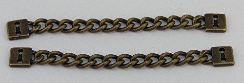 2 altmessing Aufhänger für Mäntel, Jacken aus Metall Kette 72mm 06.33