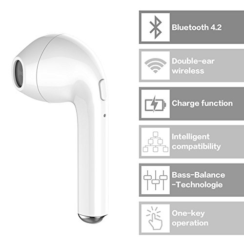 Mini auriculares Bluetooth auriculares estéreo intraurales con Bluetooth 4.2 auriculares inalámbricos con micrófono manos libres compatible con iPhone 7 7 Plus 6 6S Plus HTC Sony y dispositivos Android
