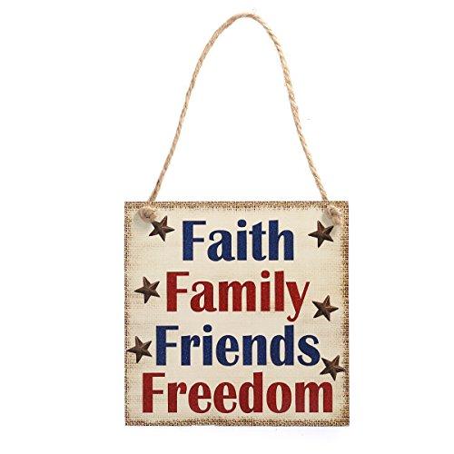 Schild patriotischen Holz hängend Indeprnddence Day Wand Dekoration Holzfaserplatte Hintergrund Faith Familie Freunde Freiheit (4. Juli Dekoration)