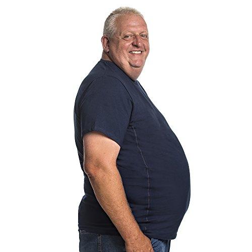 T-Shirt für Männer mit Übergröße Bauchumfang Herren Rundhals Doppelpack Basic 2 Stück Tshirt Übergrößen XL - 8XL Blau