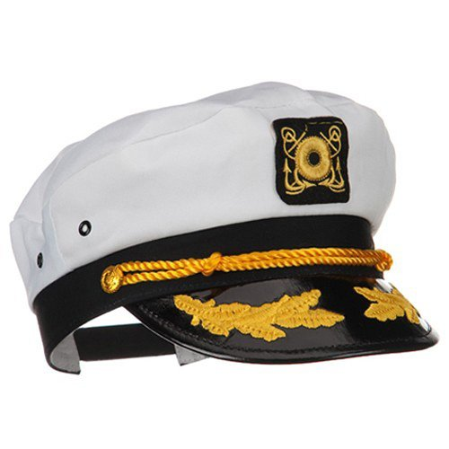 MyPartyShirt White Yacht Captain Hat With Scrambled Eggs