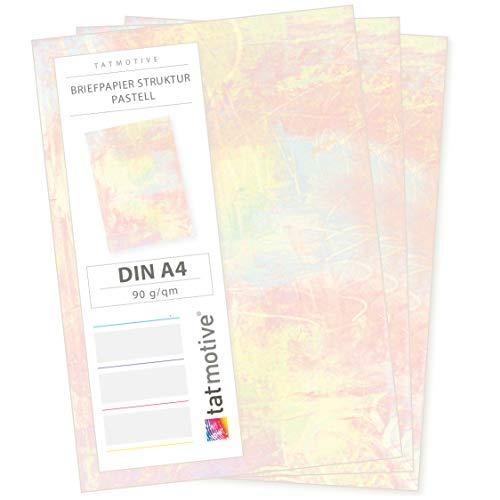 TATMOTIVE Motivpapier-Briefpapier Pastell 50 Blatt, DIN A4 90g bunt Motiv-Papier -