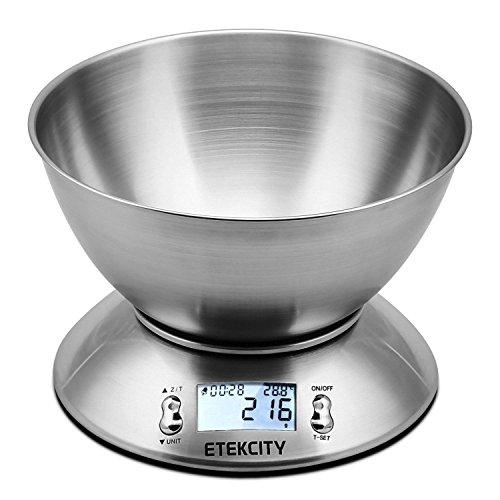 Etekcity Balance de Cuisine Electronique 5 kg en Acier Inox avec Grand Ecran Rétroéclairé, Bol Amovible, Minuterie, et Fonction Tare, Piles Fournies, Argent