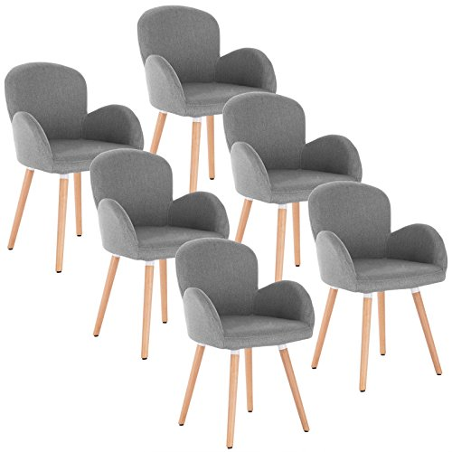 WOLTU 6 x Esszimmerstühle 6er Set Esszimmerstuhl Küchenstuhl Polsterstuhl Design Stuhl m