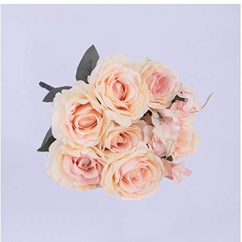 wcylj Gefälschte Blume Strauß Hochwertige Künstliche Blumen Rose Seidenblumen Für Zuhause Hochzeitsdekoration Geburtstagsparty Dekorationen Erwachsene-Champagner