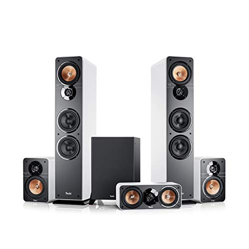 Teufel Ultima 40 Surround 5.1-Set Weiß/Schwarz Heimkino Lautsprecher 5.1 Soundanlage Kino Raumklang Surround Subwoofer Movie High-End HiFi