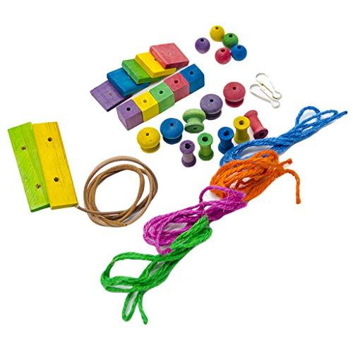 FutuHome Vögel Holzklötze Spielzeug Käfigschaukel Hängespielzeug Für Kleine Mittelgroße Vögel