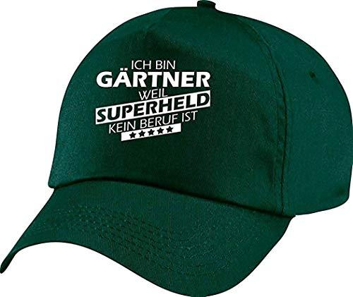 Shirtstown Basecap Original 5-Panel Cap, Ich bin Gärtner, weil Superheld kein Beruf ist, Farbe gruen 5-panel Twill Cap