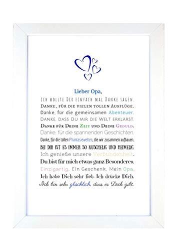 Danke Opa - Danksagung für Opa Bild optional mit Rahmen – Geschenk Geschenkidee Geburtstag Opa Kunstdruck DIN A4