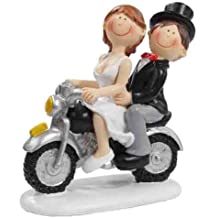 Pareja de novios en moto * Diseño * Figura de novios para tarta * Mesa