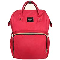 LCY Baby Nappy Changing Bag Backpack Muti-functional for Travelling and Daily Use Red