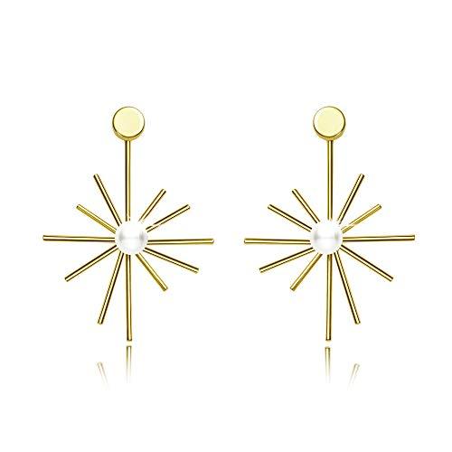Ohrringe Ohrhänger Sonne Geformt 925er Silber 14K Gold Perle Ohrringe Böhmischer Stil Frauenen Mädchen Geschenke Tanzparty Sommer Täglich
