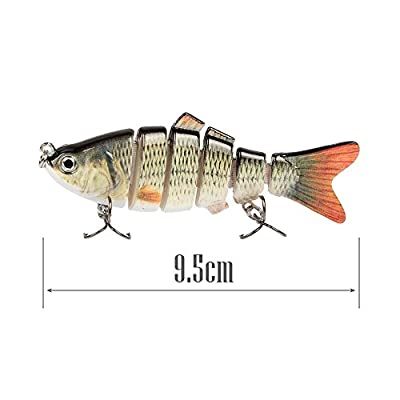 QHGstore Fishing Lure Available Multi Jointed Life-like Swimbaits Crankbaits with 6# Fishing Hook 6 Segment 18g /9.5cm 2PCS from QHGstore