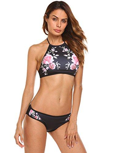 Ekouaer Damen Bikini-Set Blumendruck Bikini Push up Badenanzug Neckholder Swimsuit Gedruckt Zweiteilig Schwimmanzug, Größe EU 42(Herstellergröße: XL), Farbe Schwarz Blumen