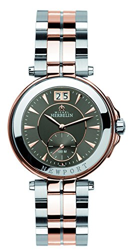 Michel Herbelin Newport Yacht Club Women's Quartz Watch with Grey Dial Analogue Display and Two Tone Stainless Steel Rose Gold Plated Bracelet 18266/BTR22